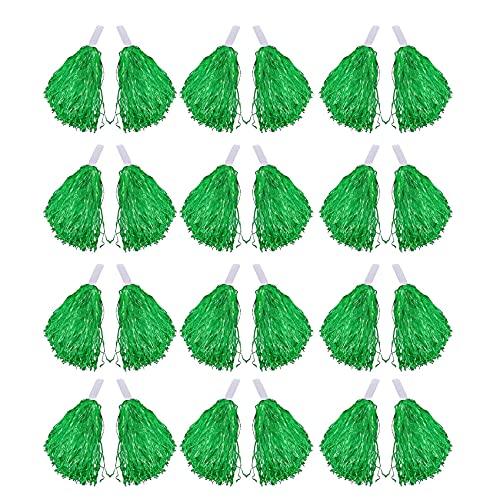 cherrypop, 24 pompon da cheerleader, in lamina metallica, con manico in plastica, per adulti, bambini, cheerleader, colore: verde