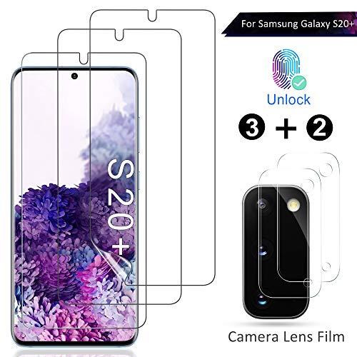 AOYATE für Samsung Galaxy S20 Plus Schutzfolie (3 Stück)+Kamera Panzerglas(2 Stück), Anti-Bläschen Transparenz Gehärtetem Weich TPU Displayschutzfolie Schutzfolie für Samsung Galaxy S20 Plus