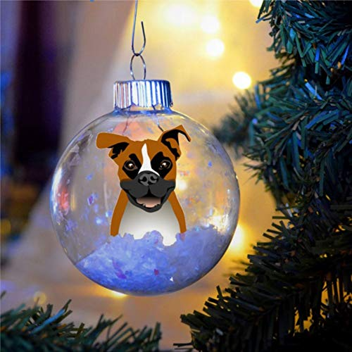 BYRON HOYLE Boxer Christmas Ornament Personalized Bulb Dog Present Faun Natural Ears Memorial Christmas Ball Ornaments Shatterproof Christmas Decor Tree Balls for Holiday Wedding Party Decor