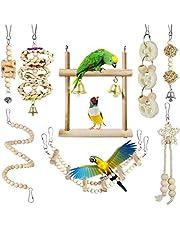 Giochi per Uccelli pappagalli, Camiter 8 Pezzi di posatoi da Masticare con Campanelle per Animali Domestici, pappagalli, pappagallini, calopsitte, fringuelli e Altri Piccoli Uccelli Parrocchetti