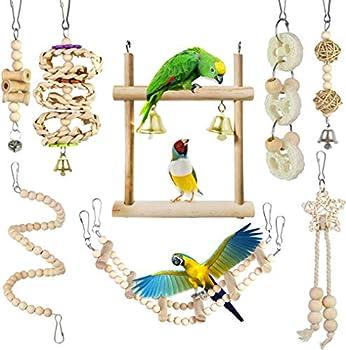 CAMITER Lot de 8 Jouet pour perroquet à oiseaux Jouets à mâcher avec Hamac Swing Cloche Chaîne Perchés pour Oiseaux, perroquets, perruches, perruches, aras, Oiseaux inséparables
