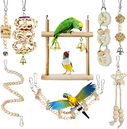Juguetes para Pájaros , CAMITER 8 Piezas Pájaros Juguetes con Campanas, Escalera de madera, Columpios, Juguetes para Masticar para pequeños y medianos loros de aves