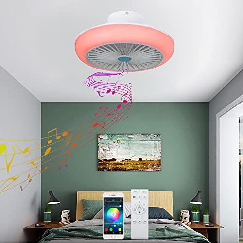 VOMI Plafoniera Ventilatore con Luce Dimmerabile RGB Cambia Colore LED Plafonier con Telecomando Invisibile Silenzioso Ventilatore a Soffitto con Lampada Bluetooth Altoparlante per Camera da Letto
