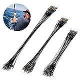 72 Piezas Cable del Líder de Pesca 20cm 25cm 30cm Alambre de Acero Inoxidable de Pesca Línea Sedal líderes de Alambre de Pesca con Giratorios y Broches para Pike