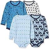 Pippi 3819725104 - Body de manga larga (4 unidades), para niños, con estampado, edad: 3-4 años, talla: 104, azul