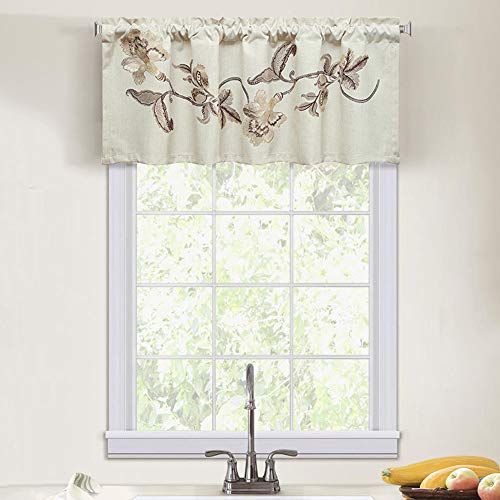 LEEVA Short Curtain Valance for Windows Living Room, Embroidery Blossoms Linen Small Curtains Valances for Bedroom, 52x18, Brown