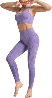 per yoga Mayround Set di 2 costumi da yoga reggiseno sportivo e leggings da donna a costine senza cuciture 2 pezzi