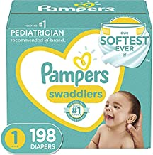 Pampers Newborn Swaddlers Disposable Baby Diapers, One Month Supply, Size 1, 8 - 14 lb, 198 Count