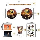 TENGYUE Halloween Geschirr 75-teiliges Set , Halloween Partygeschirr Set aus Pappteller Becher Strohhalme Bonbonbox Kürbis Tattoo Sticker, Halloween Tischdeko für Kinder, Grusel Party, Garten (10 psc) - 2