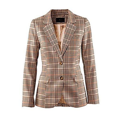 Women's Vintage Classic Two Button Plaid Blazer Elbow Patch Slim Fit Long Blazer Jacket