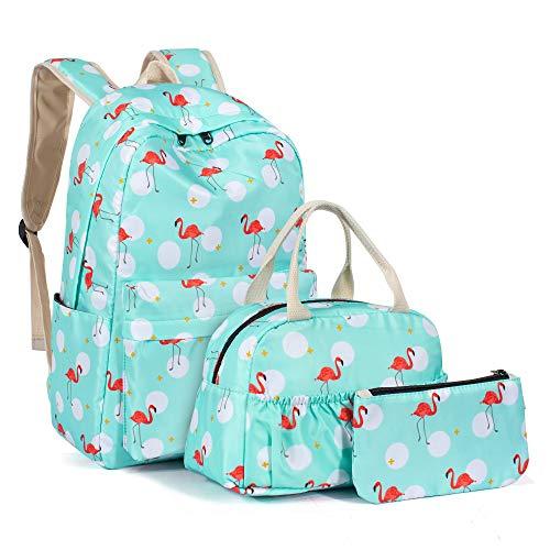 Leaper Cute Polka Dot Backpack Girls School Bag Bookbag Lunch Bag Purse Blue
