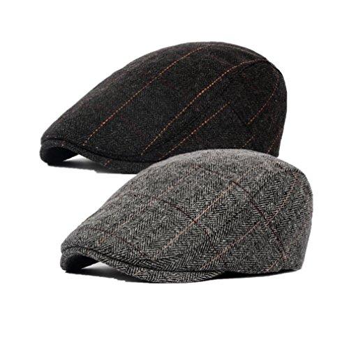 Decstore Paquete de 4 Hombres Beret de Algodón Plano Tapa Ivy Cabbie Newsboy Hat Otoño Verano Sombrero