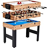 Evelove Table Game 3-In-1 Multi Combo Game Table Foosball Soccer Billiards Pool