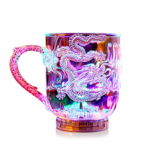 ASEOK Farbwechsler Trinkglas Gläser mit LED 3 LED-Leuchten Acryl Plexiglas Nicht zerbrechlich Wasserdichte Marble Textur PC-Material