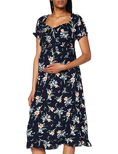 Dorothy Perkins Maternity Damska sukienka ciążowa granatowa w kwiaty mleczna crinkle casualowa