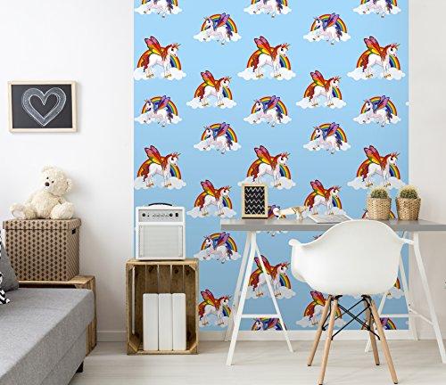 Kinder- und Schlafzimmer-Tapete mit Regenbogen- und Einhornmuster, Wolke mit magischem Pferd