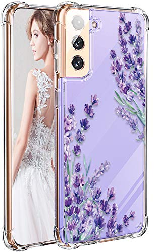 LUOLNH Galaxy S21 Plus Case,Samsung Galaxy S20+ Case with Flower,Slim Shockproof Clear Floral Pattern Soft Flexible TPU Back Cover for Samsung Galaxy S21 Plus/S21+ 6.7 Inch(Lavender)