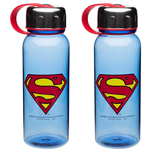 Zak Designs 2-Pack DC Comics Superman 24oz Summit Water Bottle with Stainless Steel Lid, BPA-Free