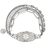 MunsteryAid Free Custom Medical Alert ID Multi-chains Bracelet with Free Engraving for Women,Personalized Womens Emergency Identification Medical Alert Bracelet Jewelry,6.5 to 9.0 Inches (White, 7.5)