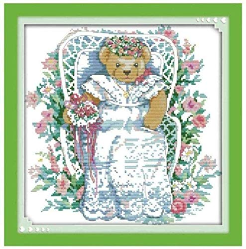 XYXYNNB Stamped Cross Stitch Kits Adults Beginners Bride in The Garden 11CT Embroidery (16x20 inch) Pre-Printed Cross Stiching Supplies DIY Needlepoint Handicraft Crochet Gift