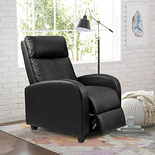 Homall Single Recliner Chair Padded Seat PU Leather Living Room Sofa Recliner Modern Recliner Seat Club Chair Home Theater Seating (Black)