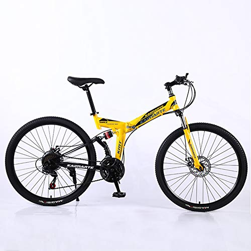 HUWAI Folding Bike with 26 Inch Wheel,21-Speed,Premium Full Suspension and Quality Gear,High Carbon Steel Dual Suspension Frame Mountain Bike,Amarillo