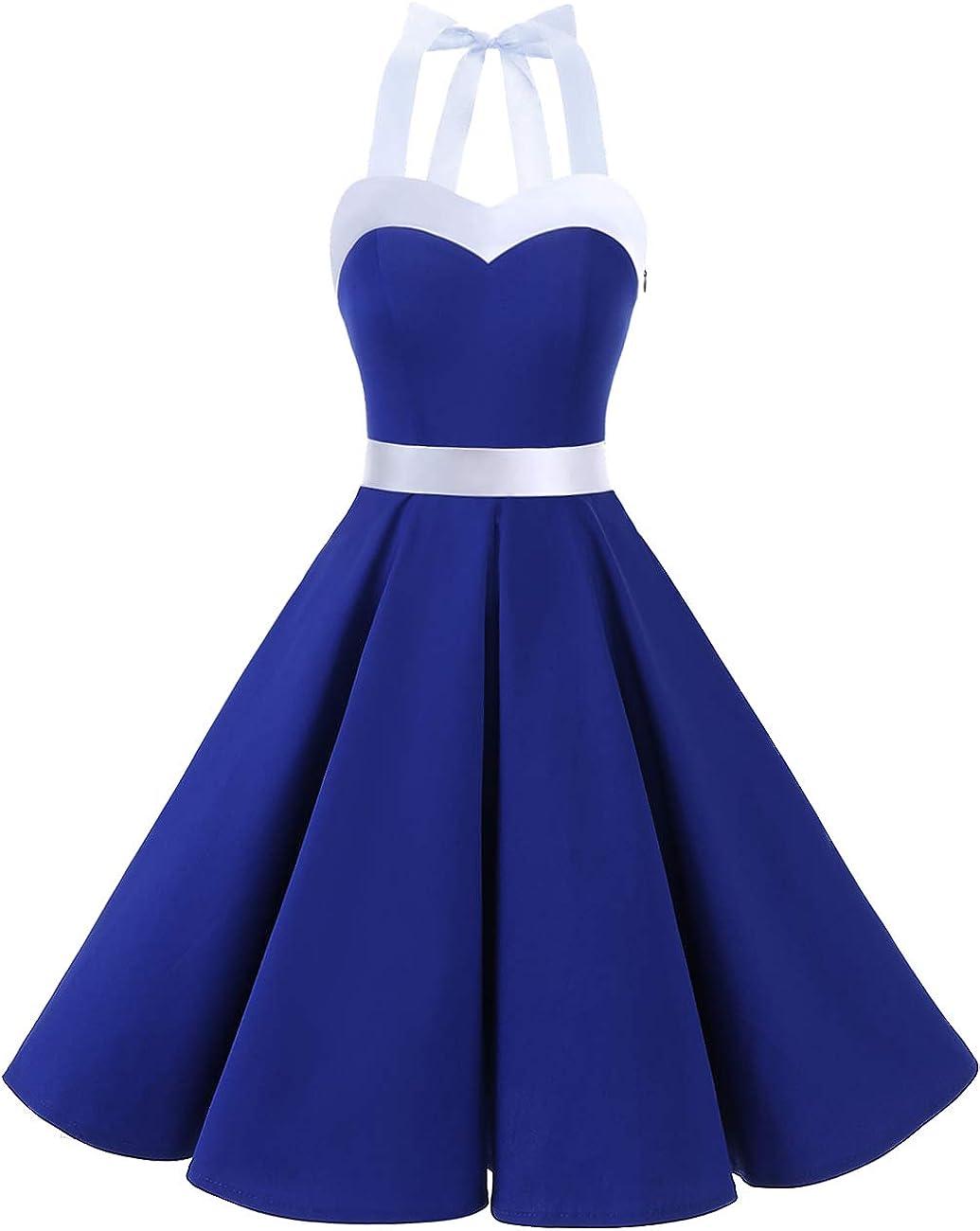 Sailor Dresses, Nautical Theme Dress, WW2 Dresses DRESSTELLS 50s Vintage 1950s Rockabilly Polka Dots Audrey Dress Retro Cocktail Dress $26.66 AT vintagedancer.com