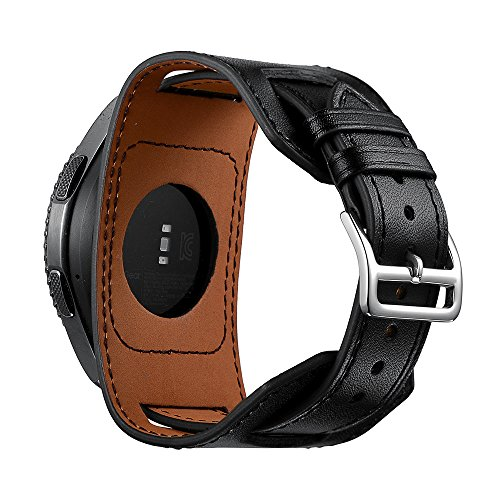 SEMILU 22mm Leather Cuff Watch Band Replacement Strap Compatible with Samsung Galaxy Watch 3 45mm/Gear S3/Galaxy(46mm) Watch-Black(Extra Large Wrist Size:8.3-10.2inches (210-260mm))