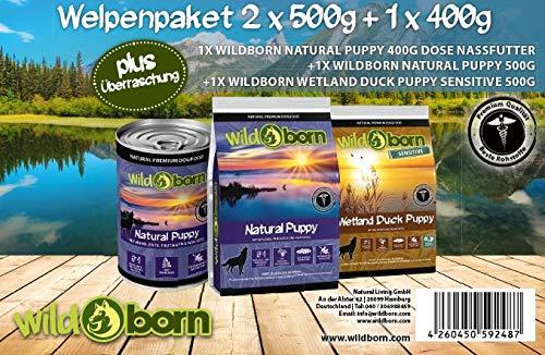Wildborn Hundefutter getreidefrei Welpenpaket mit 2 Sorten a 500g & 1 Dose 400g Welpenfutter