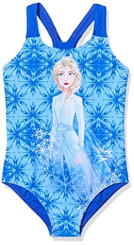 Speedo Disney Frozen 2'Elsa Digital Placement Costume da Bagno, Bambina, Blu Polvere/Azzurro Cielo/Blu Navy, XS