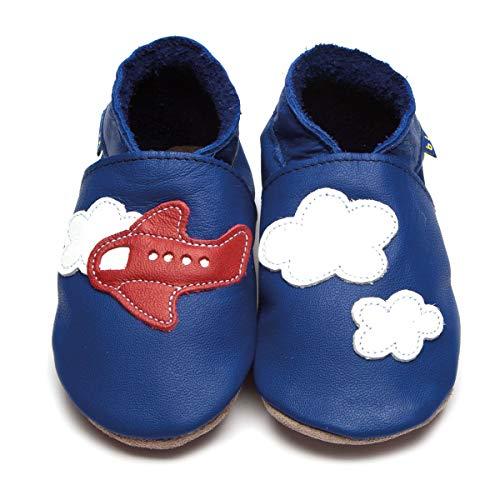 INCH BLUE Baby Jungen Krabbelschuhe Blau Flugzeuge Wolken Leder Handgemacht - Größe: S (0-6 Monate)