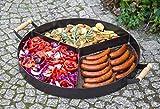 BlackOrange Grillpfanne aus Stahl - Ø 70 cm - 3 Kammern mit Aufsatz - als Aufsatz auf Feuerschale 80 cm