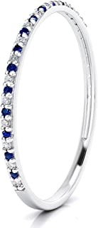 14k Gold Dainty Half Band Natural Diamond and Blue Sapphire Wedding Anniversary Ring