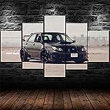 45Tdfc 5 Piezas Coche clásico Black Subaru WRX STI Panel Wall Art Print Lienzo Arte de la Pared Cuadro Pintura Adolescentes Decoración de la habitación Lienzos Carteles de impresión Regalo,B,150x80cm