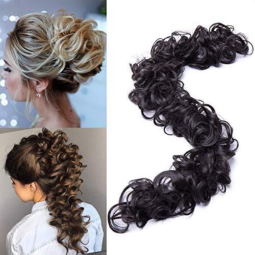 TESS Haarteil Haargummi Dunkelbraun Dutt Ponytail Extension DIY Haargummi Synthetik Haare für Haarknoten Zopf Pferdeschwanz Hair Extensions 32