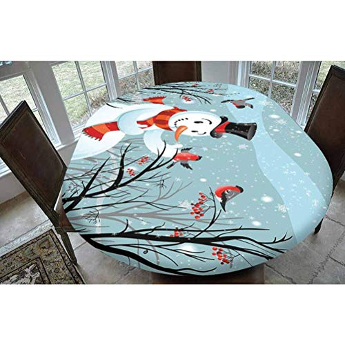 Christmas Polyester Fitted Tablecloth,Snowy Winter Tree Branches Berries Bullfinch Birds Snowman Hat Decorative Oblong Elastic Edge Fitted Table Cover,Fits Oval Tables 68x48 Almond Green Black Orange