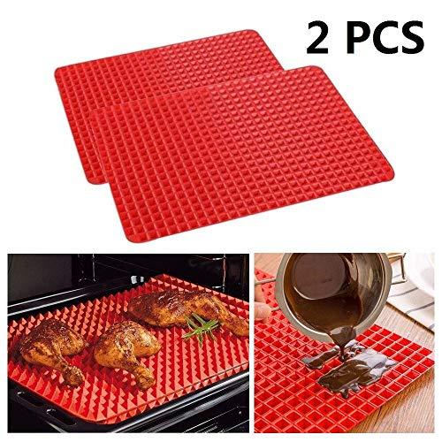 2 stks Piramide Pan Niet Stick Silicon Koken Mat Oven Bakplaat Vet Verminderen 27x40cm Siliconen Bakmat Oven -Gemakkelijk schoon te maken, Herbruikbaar, Duurzaam