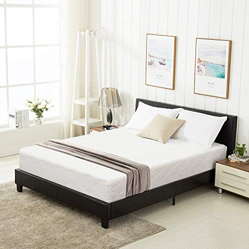 Mecor Faux Leather Bonded Platform Bed Frame/Upholstered Panel Bed Full Size,No Box Spring Needed,for Adults Teens Children,Black Full