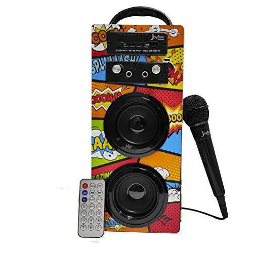 Biwond JoyBox Karaoke Altavoz 10W + Micrófono (Bluetooth TWS, Mando, Radio FM, SD, Batería Interna + Ranura para Batería Extra no Incluida) – Comic
