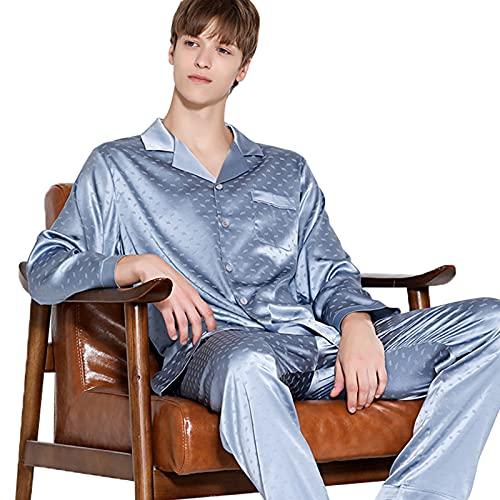 Pijama Hombre con Botones Manga Larga Conjunto de Pijamas Seda 2 Piezas Pantalones Largo Estar por Casa,Azul,XXL