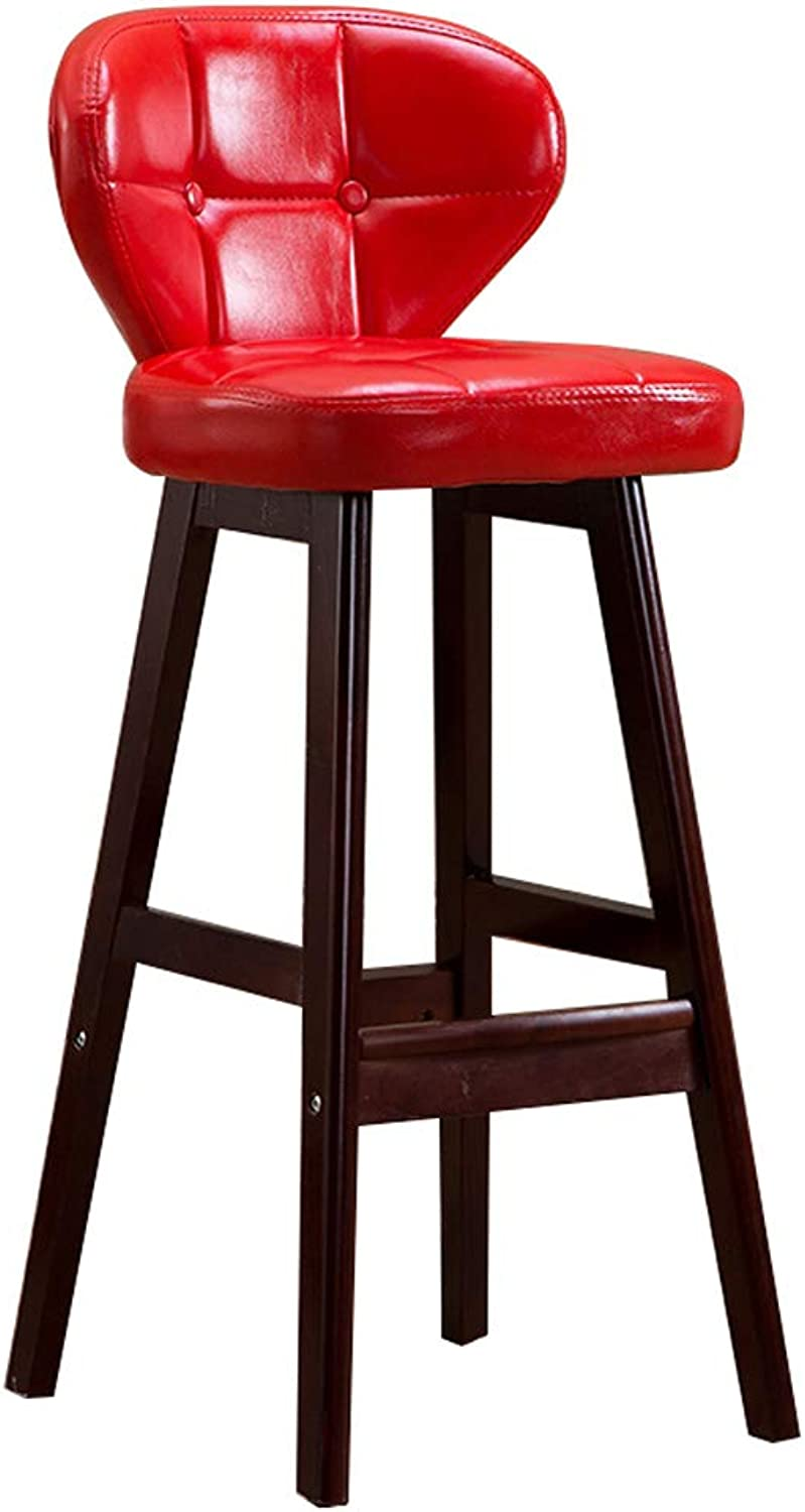 GY Bar Stool, Solid Wood Breakfast High Stool, High Back Leather Bar Chair, Non Slip Home Kitchen 90-110cm Counter Bench, 4 colors, 65cm 75cm 85cm (color   RED, Size   85cm)