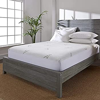 Pure Bamboo Queen Bamboo Mattress Protector - Waterproof Breathable Cooling Cover Protects Against Moisture Spills Stains - Noiseless Machine Washable Fits 16 inch Bed  Queen