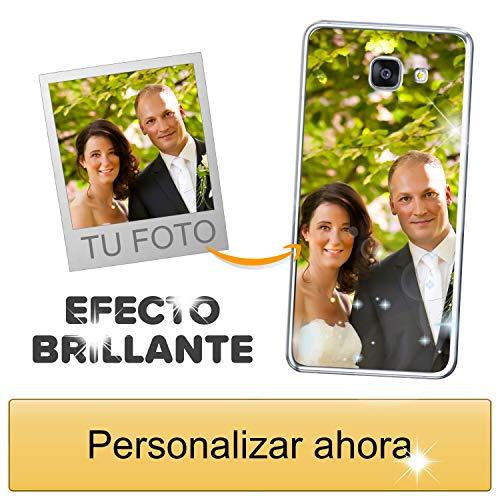 Funda móvil Personalizada con Efecto Brillante para Samsung Galaxy A5 2016 con Tu Foto, Imagen o Frase - Funda Blanda en TPU Gel Transparente - Impresión de máxima Calidad