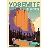 Reiseplakat, Yosemite, El Capitan, USA, Nationalpark, Klettern, Berge, Kalifornien, Retro-Kunstdruck, amerikanische Landschaft, Wohnzimmer Dekoration, Travel Poster, Reise
