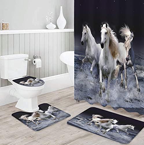 MQWEMJ Cortinas de Ducha, Caballo Animal Blanco negro180×200 cm con alfombras Antideslizantes, Tapa de Inodoro y Alfombrilla de baño, Cortina de Ducha con 12 Ganchos, Tela Impermeable