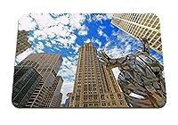 26cmx21cm マウスパッド (シカゴ市高層ビル青い石) パターンカスタムの マウスパッド