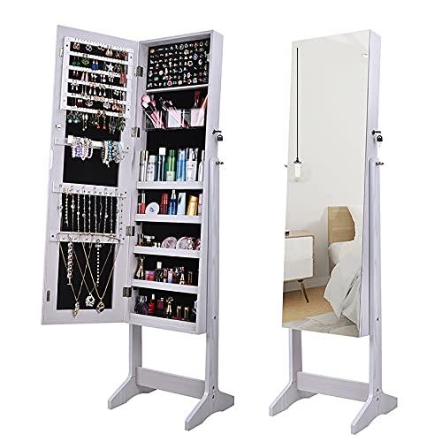 GPAIHOMRY Joyerías Armoire Gabinete, organizador de joyas ajustable de 3 ángulos con espejo de longitud completa y armario de almacenamiento con cerradura, color blanco