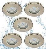 Trango 5er Set dimmbare IP44 LED Einbaustrahler in Nickel matt TG6729IP-052GU5SD I Einbauleuchten incl. 5x 5 Watt dimmbare GU10 LED I Bad Spots I Bad Deckenspots I Deckenstrahler I Einbauspots I Spots