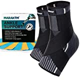 MARAKYM Premium Ankle Compression Socks for Men & Women - Foot Wrap Arch Support - Ankle Sleeves for Achilles Tendonitis, Plantar Fasciitis, Injury Prevention, Pain Relief & Boost Recovery - 2 Pack