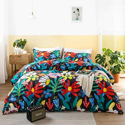 SUSYBAO 3 Pieces Duvet Cover Set 100% Cotton King Size Colorful Sunflowers Print Bedding Set 1 Botanical Floral Duvet Cover with Zipper Ties 2 Pillowcases Luxury Quality Soft Breathable Comfortable
